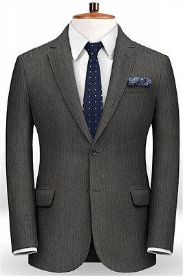 Customized Classic 2Pcs Men Suit Set   High-end Solid Color Slim Business Tuxedo_1
