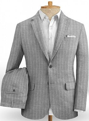 Gray Striped Linen Men Suits Online | Notched Lapel Tuxedo with Two Pieces_2