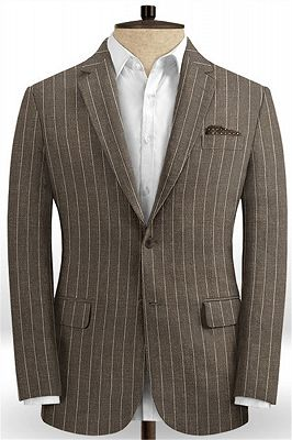 Brown Linen Striped Men Suits Online | Two Pieces Business Tuxedo with Two Pieces_1