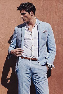 Fashion Casual Sky Blue Summer Men Suits | 2 Pieces Linen Beach Wedding Suits for Men_1