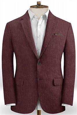 Burgundy Men Suits Online   Notched Lapel Linen Tuxedo Online_1
