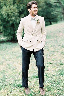 Ivory Wedding Tuxedos For Groom Custom Made | 2 Pieces Set Groomsmen Best Man Suit Bridegroom_1