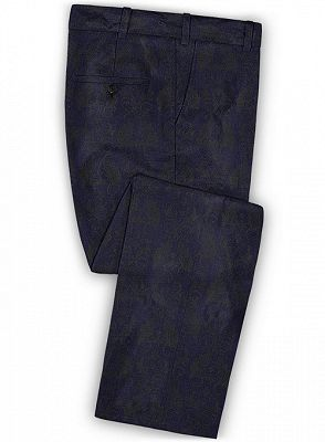 Navy Blue Jacquard Tuxedo for Prom | Slim Fit Two Buttons Men Suits_3