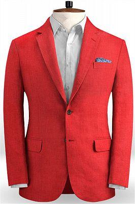 Red Wedding Groom Men Suits | 2 Pieces Jackt Pants Vest Tuxedo with Notched Lapel_1