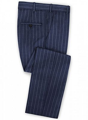 Dark Blue Business Formal Suits | Fashion Two Buttons Striped Tuxedo Online_3