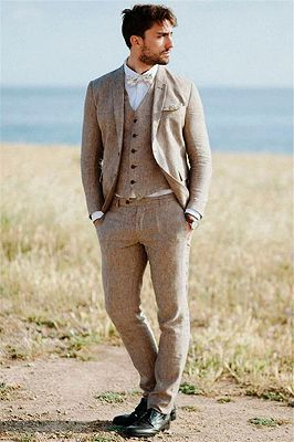 Khaki Linen Summer Beach Mens Classic Suits | 2020 Groom Wedding Tuxedos with 3 Pieces_2