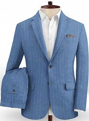 Ocean Blue Striped Prom Tuxedo | Two Pieces Linen Men Suits_2