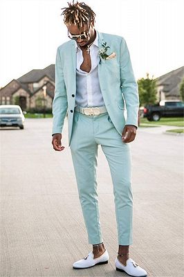 Mint Green Slim Fit Mens Suits Groomsmen Wear | Two Pieces Notched Lapel Formal Prom Suit_1