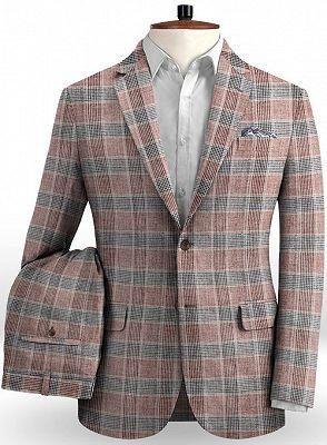 Grid Jacket Tuxedo   Business Notch Lapel Men Suits_2