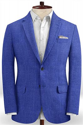 Royal Blue Notched Lapel Men Tuxedo | Prom Outfits Suits_1