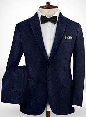 Dark Blue Formal Business Men Suits   Blend Wedding Groomsmen Suits_2