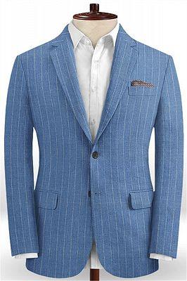 Ocean Blue Striped Prom Tuxedo | Two Pieces Linen Men Suits_1