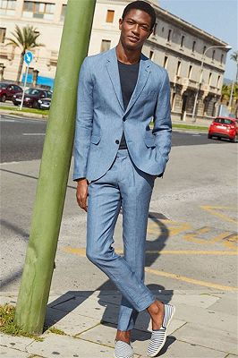 Casual Linen Beach Suit Wedding Groom | Stylish Prom Dress Men Party Wear with 2 Pieces_1