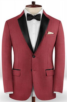 Slim Fit Red Two Pieces Tuxedos   Evening Party Prom Casual Two Pieces Men Suits_1