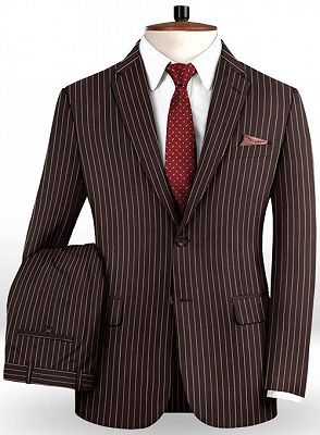 Chocolate Two Pieces Men Suits with 2 Buttons | Striped Tuxedo_2