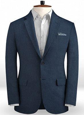 Dark Blue Linen Beach Wedding Tuxedos | Men Suits for Wedding Man Outfit 2 Piece_1