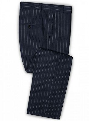 Marvin Dark Blue Linen Casual Tuxedo for Men | Striped Slim Fit Men Suits_3