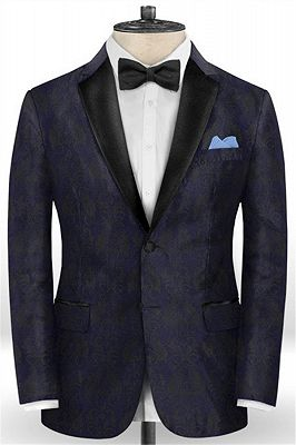 Navy Blue Jacquard Tuxedo for Prom | Slim Fit Two Buttons Men Suits_1