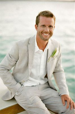 Casual Linen Suit For Beach Men Wedding 2 Piece | Bespoke Groom Tuxedos Mens Prom Suits_1