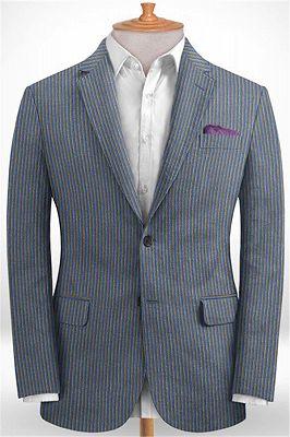 Blue Notched Lapel Men Suits for Sale | Modern Slim Fit Striped Tuxedo_1