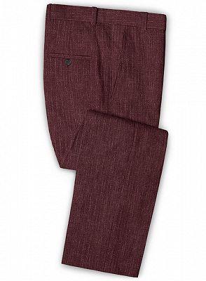 Burgundy Men Suits Online   Notched Lapel Linen Tuxedo Online_3
