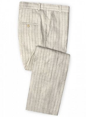 Light Champagne Two Pieces Striped Tuxedo | Linen Summer Beach Groom Suits_3