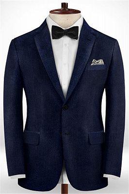 Dark Blue Formal Business Men Suits   Blend Wedding Groomsmen Suits_1