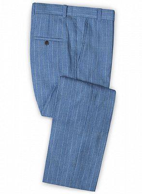 Ocean Blue Striped Prom Tuxedo | Two Pieces Linen Men Suits_3