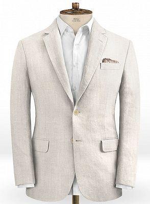 Hot Men Slim Fit Linen Groom Suits   Business Suits Solid Color Slim Tuxedo_1