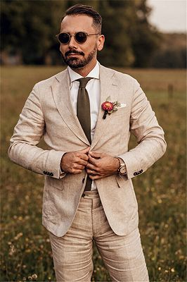 Tailored 3 Pieces Party Linen Wedding Suit | Casual Summer Beach Groom Slim Fit Suit Tuexedos_1