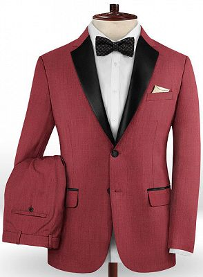 Slim Fit Red Two Pieces Tuxedos   Evening Party Prom Casual Two Pieces Men Suits_2