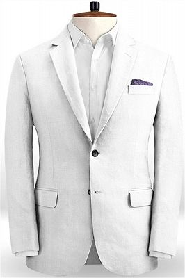 Linen for Summer White Groom Tuxedos | Notch Lapel Men Party Prom Business Suits_1