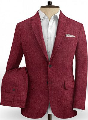 Fashion Red Men Suit Blazer With Two Buttons | Latest Linen Prom Party Tuxedo_2