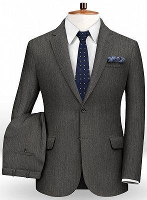 Customized Classic 2Pcs Men Suit Set   High-end Solid Color Slim Business Tuxedo_2