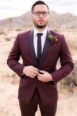 Handsome Burgundy Mens Suit Groom Suit | Wedding Suits For Best Men Slim Fit Groom Tuxedos_1