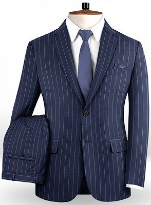 Dark Blue Business Formal Suits | Fashion Two Buttons Striped Tuxedo Online_2