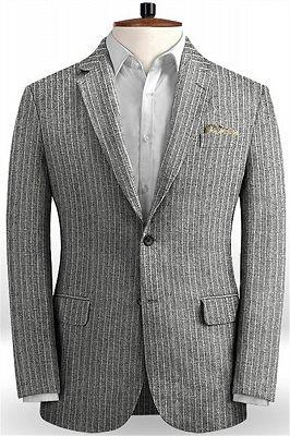 Grey Linen Men Suits | Two Pieces Striped Tuxedo_1