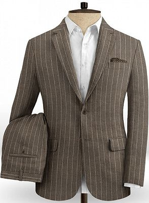 Brown Linen Striped Men Suits Online | Two Pieces Business Tuxedo with Two Pieces_2