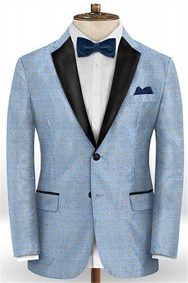 Sky Blue Fashionable Men Suits Online | New Arrival Printed Prom Suits_1
