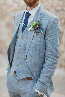 Latest Summer Blue Linen Beach Wedding Suits | Bespoke Men Casual Male Beach Groom Tuxedo_3