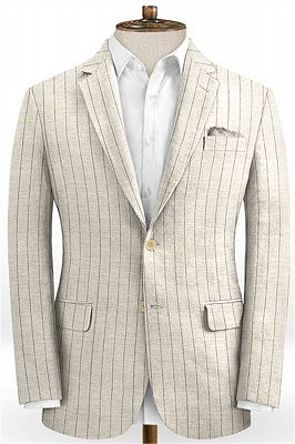 Light Champagne Two Pieces Striped Tuxedo | Linen Summer Beach Groom Suits_1