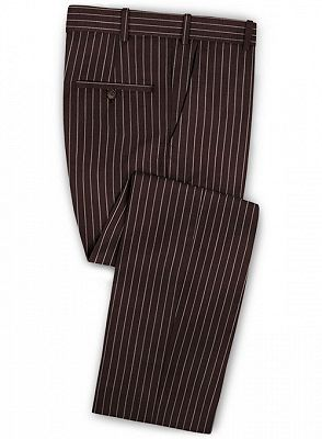 Chocolate Two Pieces Men Suits with 2 Buttons | Striped Tuxedo_3