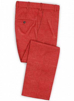 Summer Red Linen Men Suits Set | 2 Piece Prom Wear Tuxedo for Men_3