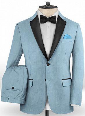 Blue Wedding Groomsmen Tuxedos   Gentle Prom Men Suits with 2 Pieces_2
