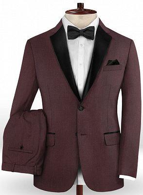 Classic Burgundy Two Button Men Suit | 2 Pieces Business Men Wedding Suits_2