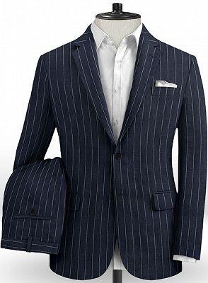 Marvin Dark Blue Linen Casual Tuxedo for Men | Striped Slim Fit Men Suits_2