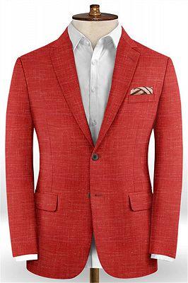 Summer Red Linen Men Suits Set | 2 Piece Prom Wear Tuxedo for Men_1