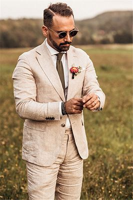 Tailored 3 Pieces Party Linen Wedding Suit | Casual Summer Beach Groom Slim Fit Suit Tuexedos_4