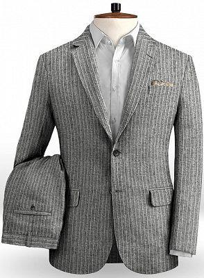 Grey Linen Men Suits | Two Pieces Striped Tuxedo_2