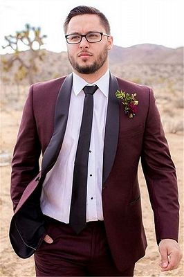 Handsome Burgundy Mens Suit Groom Suit | Wedding Suits For Best Men Slim Fit Groom Tuxedos_3
